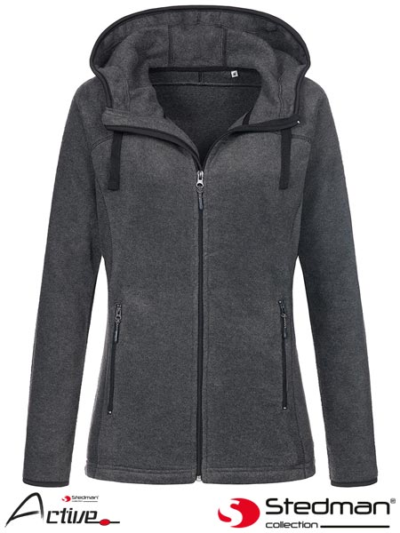SST5120 GYH XL - HOODED FLEECE JACKET WOMEN